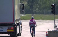 Mercedes-Benz Actros with blind spot cycle alert system